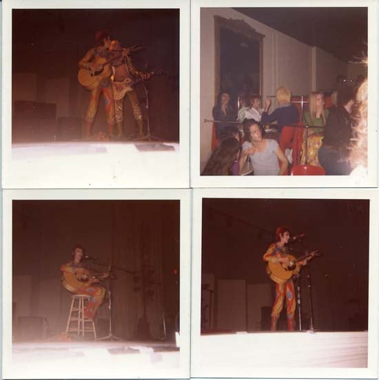 """Bowie from front row center at Carnegie Hall (seated, eerily enough, singing ""My Death"") and Bowie in the audience for the N Y Dolls, at the Mercer Arts Center."" Photos, Kristian Hoffman"