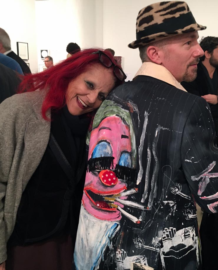 Patricia Field & Scooter in one his own hand-painted jackets (with fringe eyelashes!)