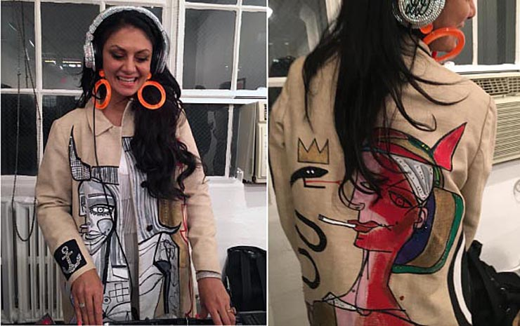 DJ Donna D'Cruz in a Jody Morlock painted coat
