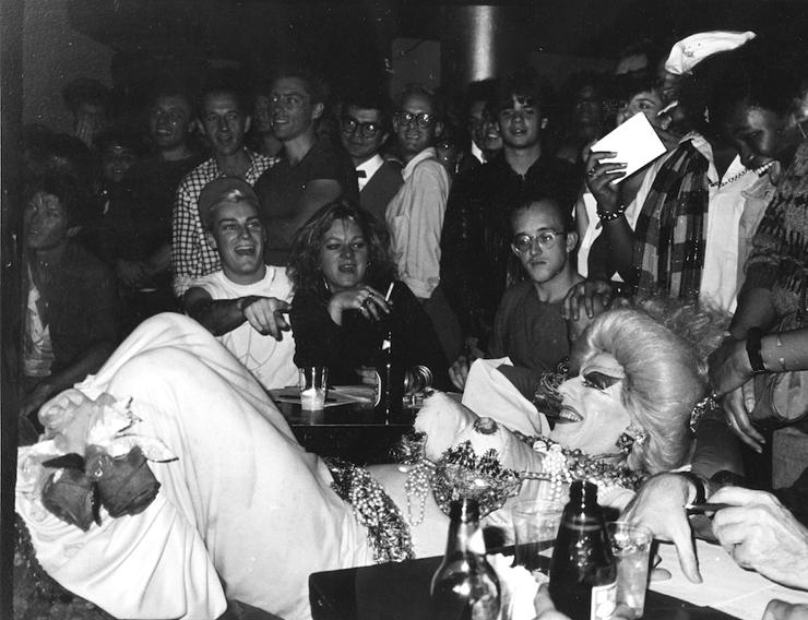 Keith Haring, Cookie Mueller, John Sex and Ethyl Eichelberger at Trey Speegle's Bad Boy night at Danceteria, circa '86