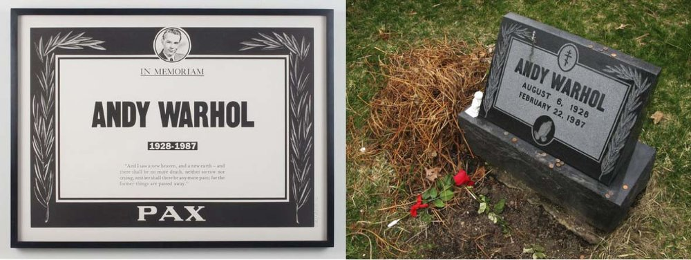 Andy memorial poster, left; his gravestone in Pittsburgh, photograph by Todd Eberle.