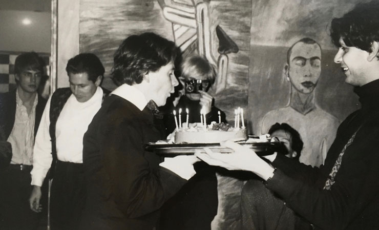 I took this photo of art dealer Massimo Audiello presenting a birthday cake to artist David McDermott in Julian Schnabel's loft as Andy photographs the moment. Interview's Sam Bolton, far left.