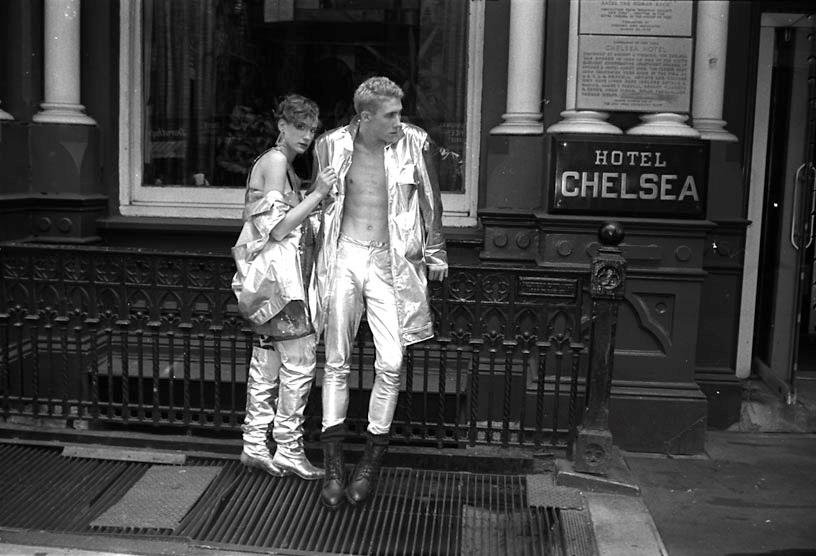 Angie Lieber & Walt in silver leather Stephen Sprouse photographed at The Chelsea Hotel by Craig Barnes NYC 1984