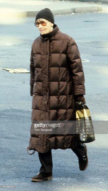 Garbo was spotted and photographed on the streets around her uptown apartment for years – the Big-Foot, recluse of the UES. This was shot on April 15, 1983 at the UN Plaza. Photo, Getty