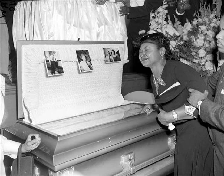 Mamie Till Mobley weeps at her son's funeral on Sept. 6, 1955. She insisted that her son's body be displayed in an open casket forcing the nation to see the brutality directed at blacks in the South at the time. Photo, Chicago Sun-Times, via AP
