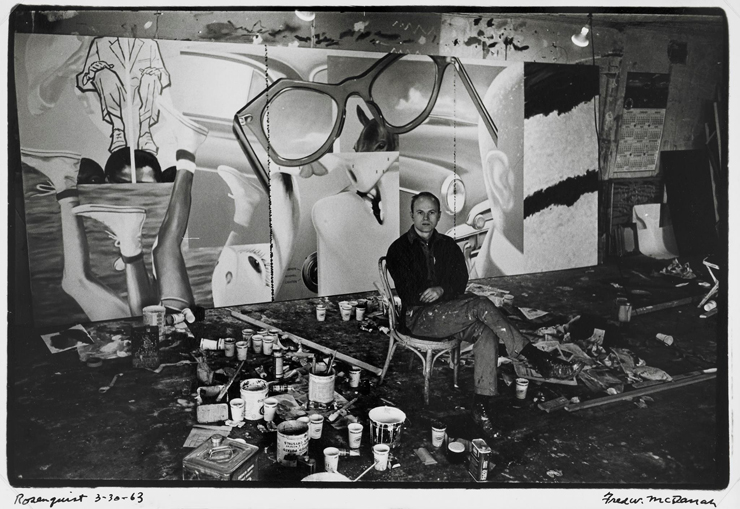 Rosenquist in his studio at 3–5 Coenties Slip. Photo, Fred W. McDarrah, March 30, 1963