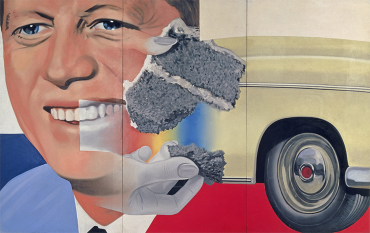 """In ""President Elect,"" which Rosenquist began in 1960 and finished in 1964, the grinning face of John F. Kennedy appears to sprout hands that offer cake to an old car.  You cannot look at the painting and have cogent thoughts about it at the same time. Looking and thinking jam up like derailed train cars. At his best, Rosenquist is a maestro of distraction, delivering it in exact, potent doses. The effect feels broadly significant. This art comprehends the typical worldly experience of the people who come to look at it. To be undistracted, in modern times, requires selective, blinkered attention. Rosenquist rules that out."" –Peter Schjeldahl"