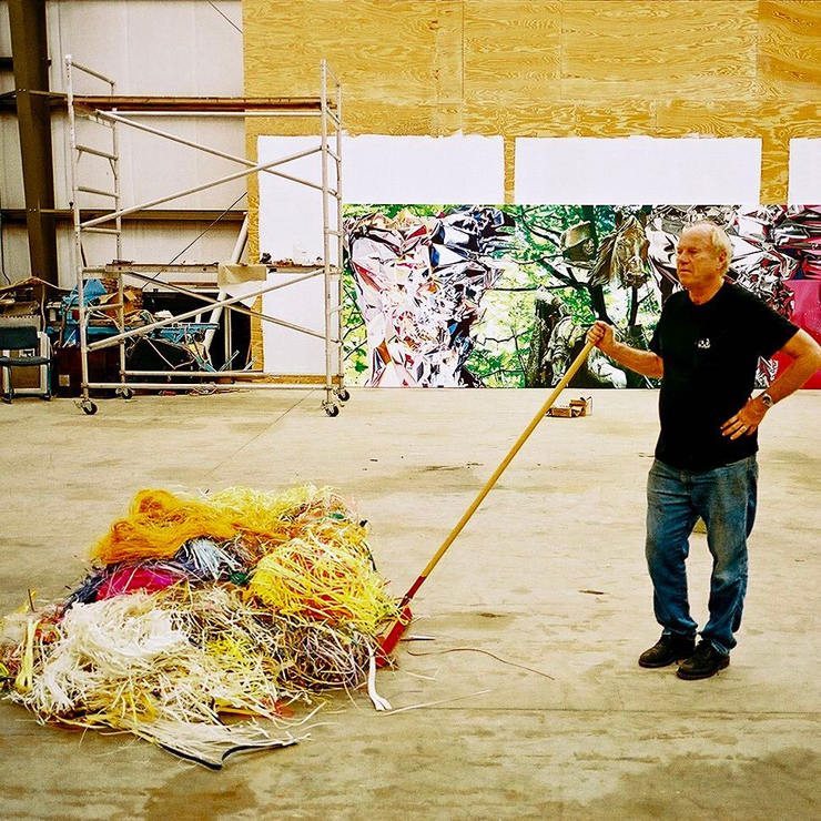 "James Rosenquist tidying up in his studio, Aripeka, FL, February 2003. ""I never saw any assistants."" Photo, Todd Eberle"