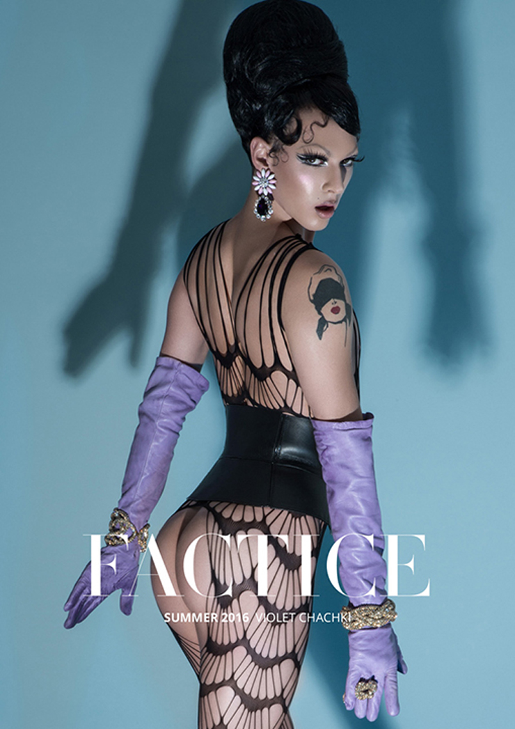 Violet Chachki in Swarovski crystal mesh bangles, Divinity cage cuff by Michael Schmidt.