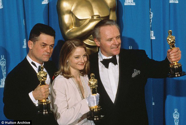 "Demme, Foster & Hopkins with Oscar gold for ""Silence of the Lambs"""