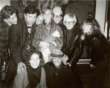 Edit in front with Jaqueline Schnabel; back row, Peter McGough, Diego Cortez, Pat Hearn, Massimo Audiello, Andy Warhol at Julian Schnabel's loft, circa '86. (Photo, Trey Speegle)