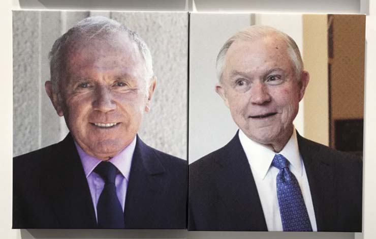 Art collector François Pinault and US Attorney General Jeff Sessions