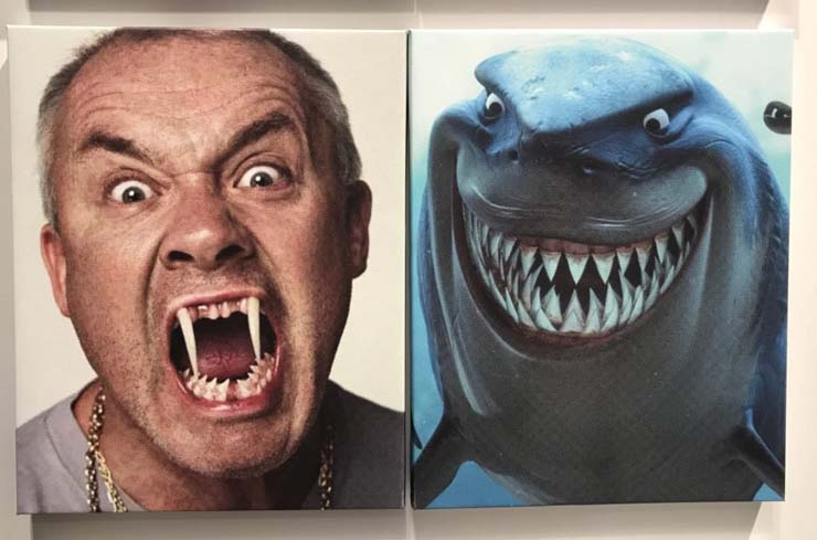Damien Hirst and Bruce the shark from Finding Nemo