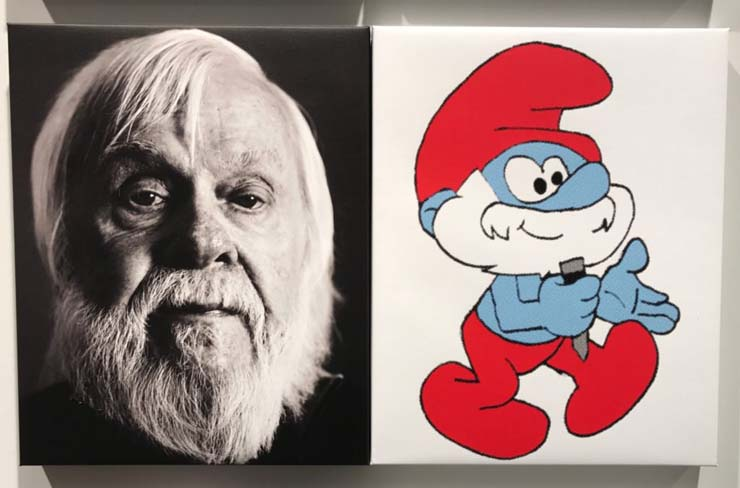 Artist John Baldessari and Papa Smurf