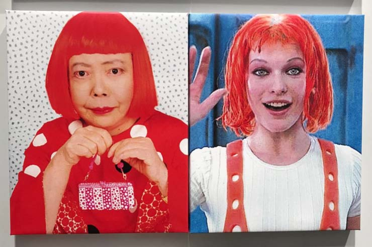 Artist Yayoi Kusama and Milla Jovovich in The Fifth Element