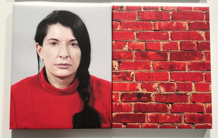 Artist Marina Abramovic and a brick wall