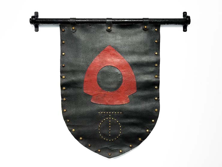 Handmade leather banner from The Spike