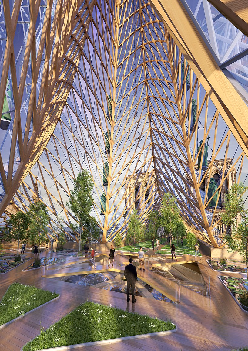 The 3D, gothic stained glass roof would create all the electricity, heat, and passive ventilation by combining passive systems and renewable energies.