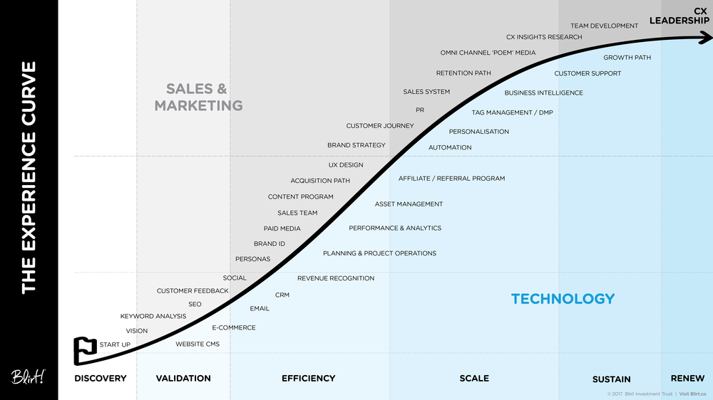 Blirt developed 'The Experience Curve' to help organisations create a roadmap to high performing customer experience.