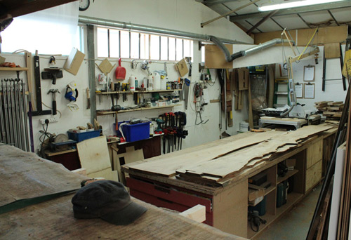 The hub of my business – my workshop, part of a shared workspace of 3000 sq ft and a separate machine room to keep the noise down.