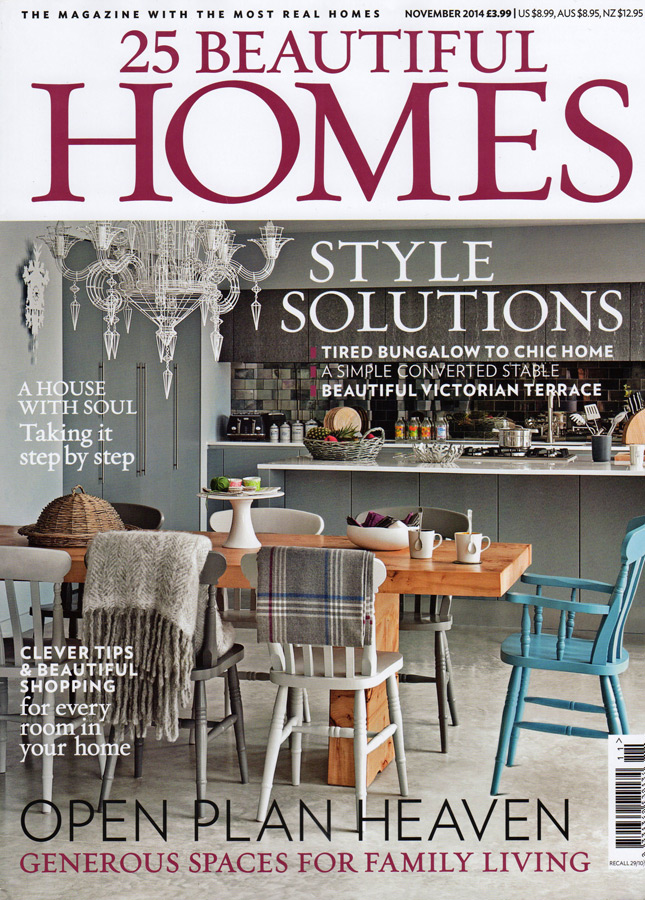 Burr maple table featured on the front cover of 25 Beautiful Homes November 2014