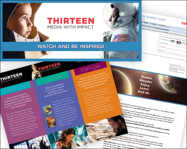 Direct Mail—From concepts to completion in varying shapes and sizes for non-profit PBS stations THIRTEEN, WLIW21 and NJTV. Packages include outer envelope, reply envelope, letter, rely form and can include brochure, insert, bookmark or other promotional materials.