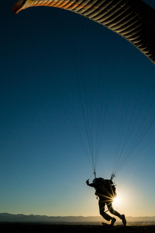 Paragliding in the Colorado desert.
