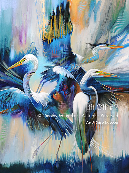 Abstract Tropical Birds Painting