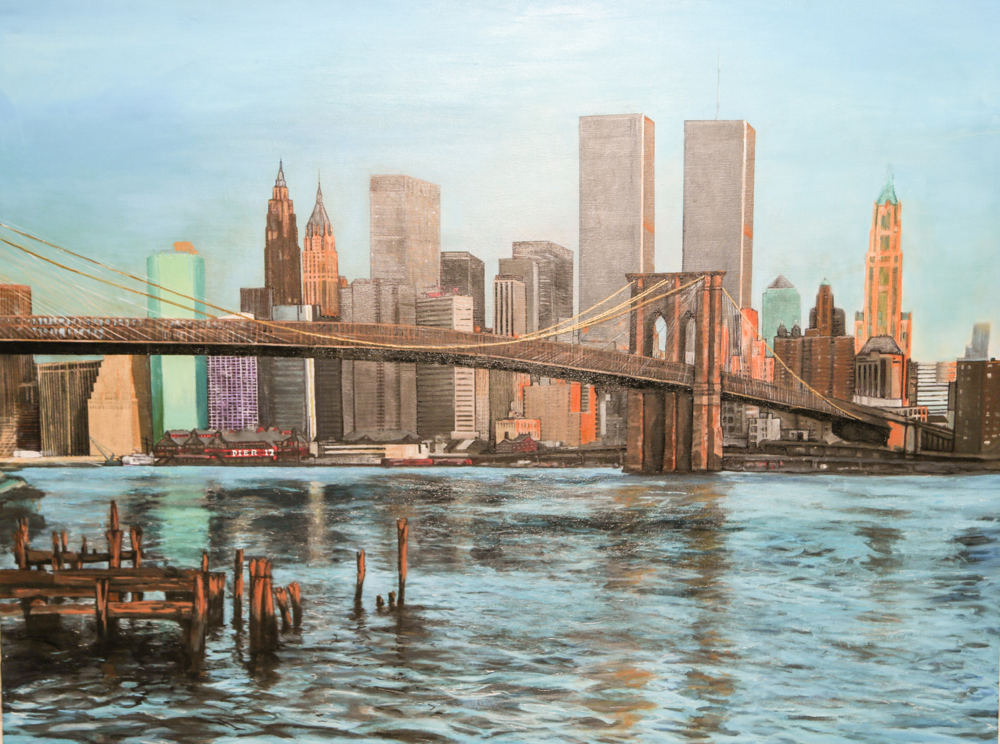 The Twin Towers and the Brooklyn Bridge.                                                                                                                                                                  36x42 inch                                                                                                                                                                        SOLD                                                                                                                                                            Price: $XXX.XX                                                                                                                                               *** CANVAS COPIES AVAILABLE ***