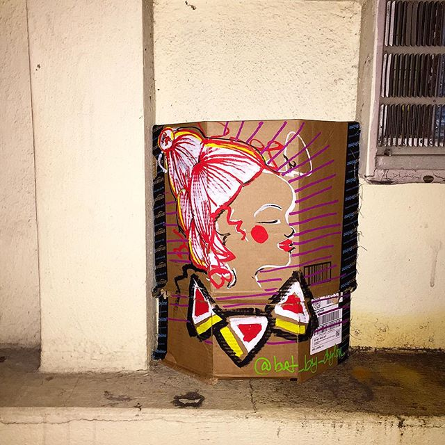 Pizza on cardboard near the pizza shop  #art #paint #draw #create #nyc #pizza #streetart