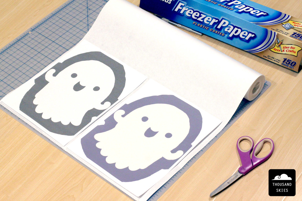 Print out your designs and the mirror version and get the Freezer Paper ready.