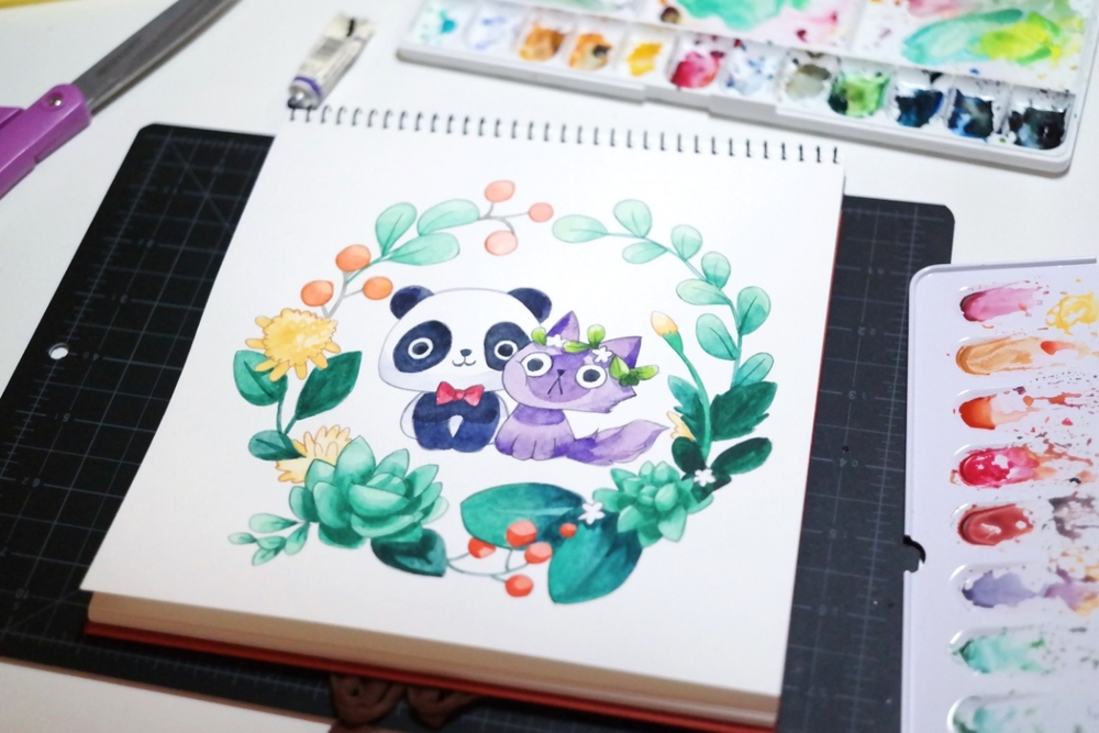 watercolor painting a panda and a purple cat thousand skies