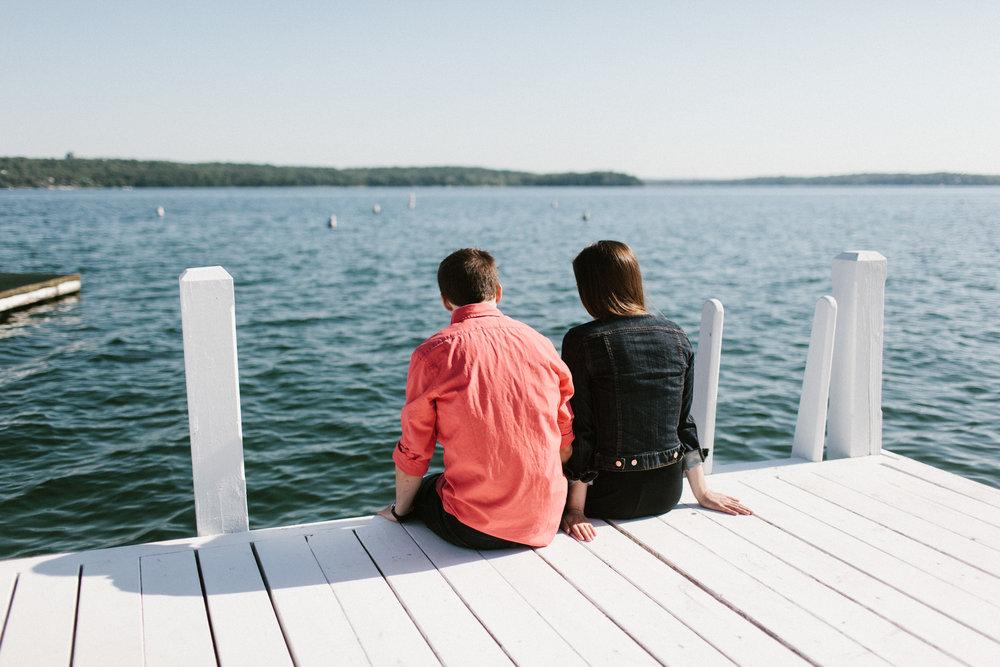 sitting on lake dock