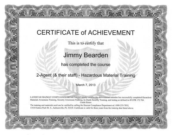 Jimmy Bearden Hazmat Certificate