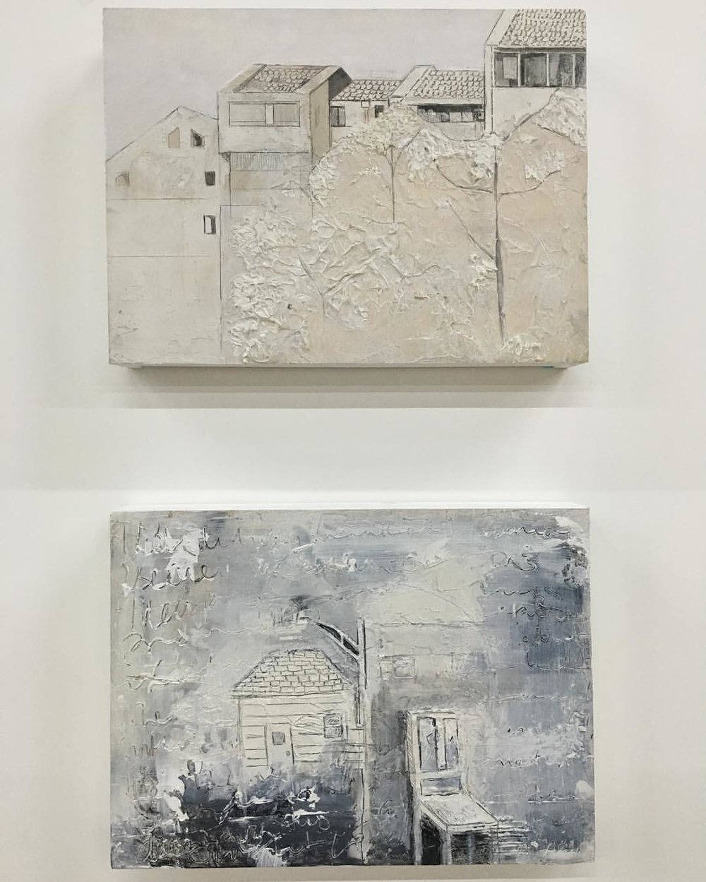 "Two of my smaller pieces that are up at our group show here in Beijing. Emerging Dialogs: A Museum Takeover @ the Dayuntang Museum. Both mixed media on panel 11"" x 9"" . . . . #academydaily #cafa #academyontheroad #MFA #111franklin #artistresidency #MFA2017 #mixedmedia #texture #architecture #china #art #galleryopening (at China, Beijing)"