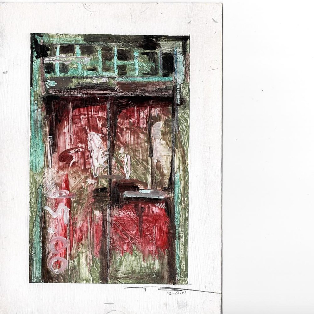 "Bayard, 5"" x 3.5"", oil and colored pencil on paper (framed) . . . #111franklin #oilpainting #door #escapecreate #art #texture #mixedmedia #contemporaryart #fineart #williamsburg (at Green Point, Brooklyn, NY)"