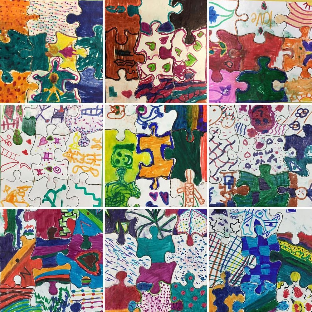 Puzzles I made with grades 1st-5th for Career Day! I gave each student a puzzle piece to draw on and when finished they worked as a team to put them back together! So happy I was able to be a part of this! Thanks! @natacha713 #education #creativity #art #puzzle #careerday #teamwork #inspire (at PS 36)