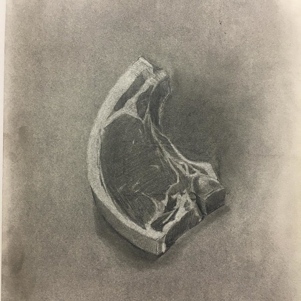 "Steak, Graphite on paper, 9""x12"". #111franklin #academydaily #drawing #fineart #graphite #sketch (at New York Academy of Art)"