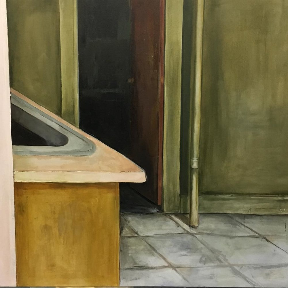 Detail shot of a bigger painting. I can't figure out how to fit into a ⬜️. I'll post the full painting soon! #111franklin #academydaily #fineart #oilpainting #interior #painting (at New York Academy of Art)