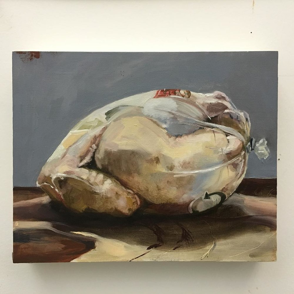 "Bound, 8""x10"", oil on panel. #111franklin #academydaily #oilpainting #fineart #chicken #gallery #painting  (at New York Academy of Art)"