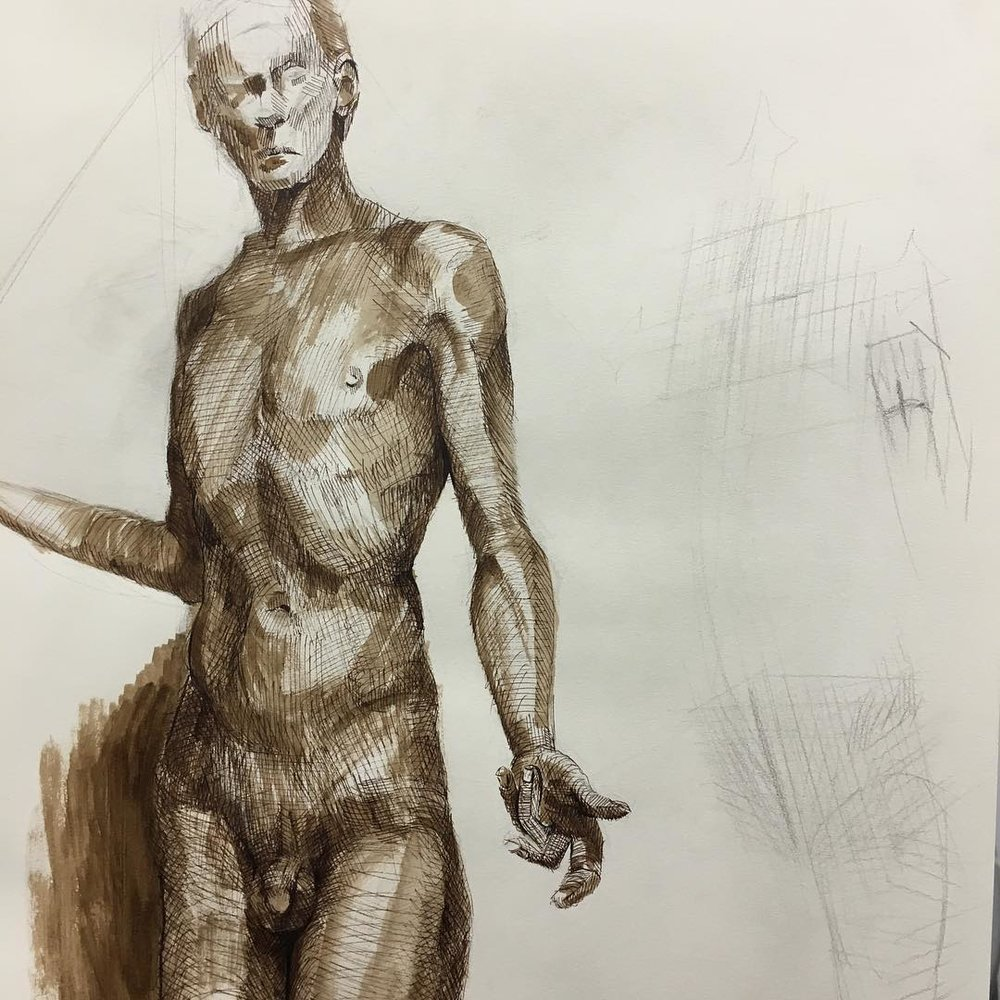 Detail of a larger figure drawing. Walnut ink on paper.  #academydaily #nyaa @nyacademyofart #figuredrawing #ink #drawing #fineart #lifedrawing  (at New York Academy of Art)