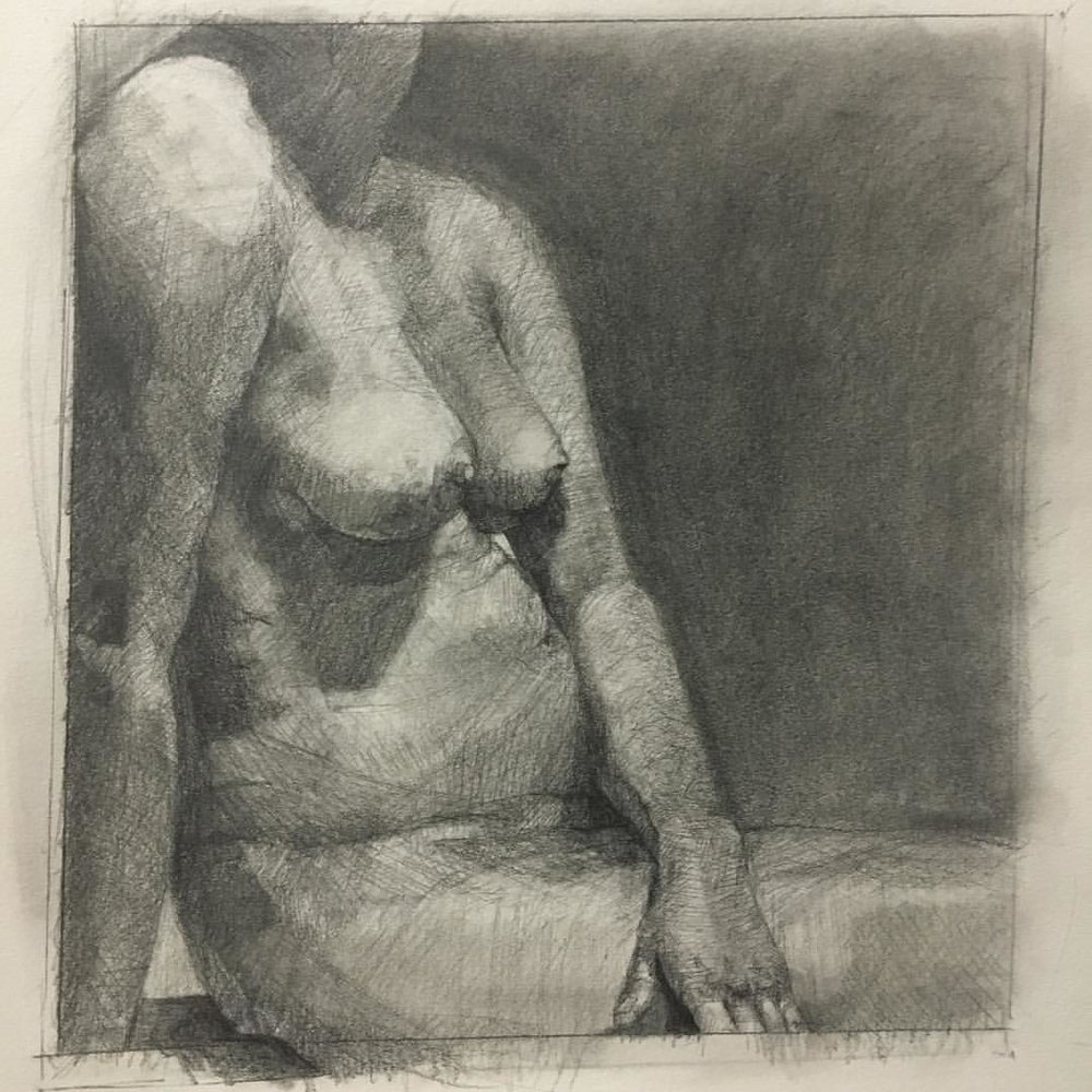 Final drawing of the semester #111franklin #academydaily #figuredrawing #fineart #drawing #figurativeart #graphite  (at New York Academy of Art)