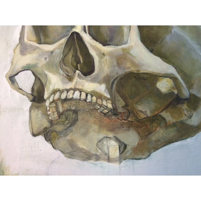 A look up close. #detail #painting #oilpainting #oiloncanvas #WIP #shadows #paint #artstudio #instaart #Brooklyn #fineart #greenpoint #anatomy #skull