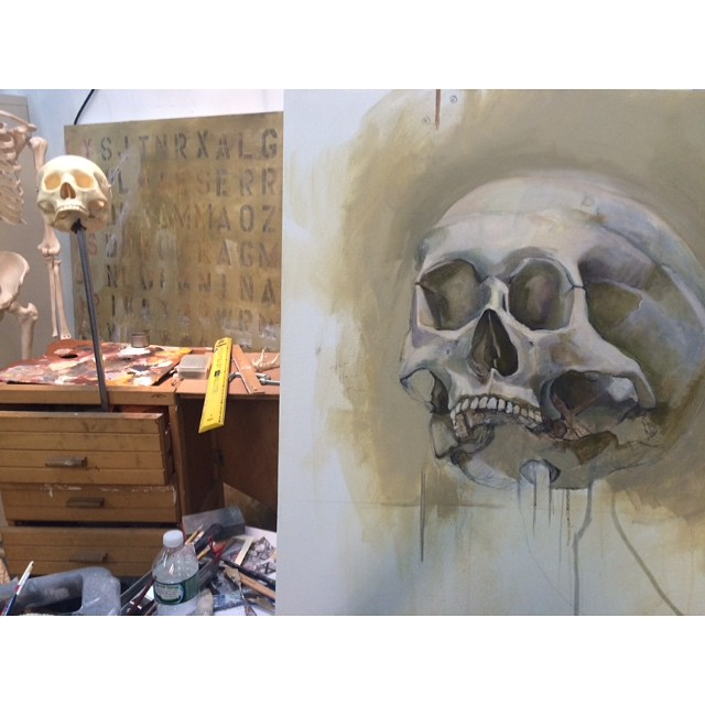 Here's a #Wip #artstudio #Brooklyn #skull #anatomy #oilpainting #workinprogress #greenpoint #study