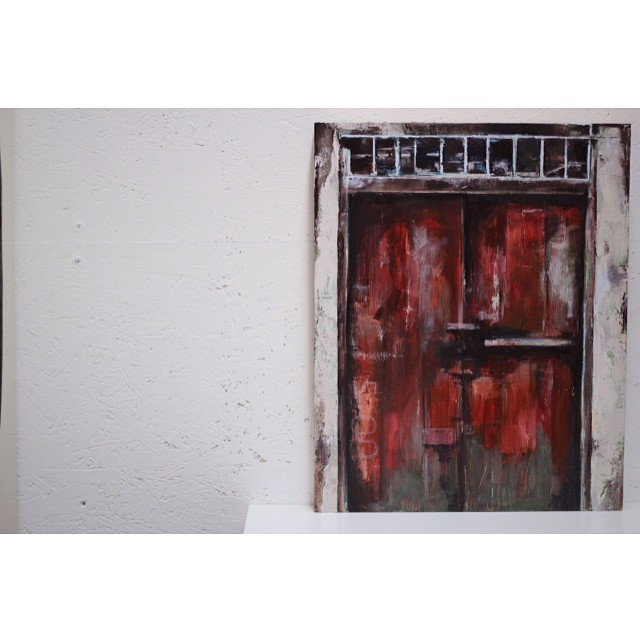 "Detail of my latest commission before it goes to its new home. 16""x20"", oil on panel. #fineart #oilpainting #mixedmedia #texture #doorway #red #artstudio #brooklyn #nycart #greenpoint"