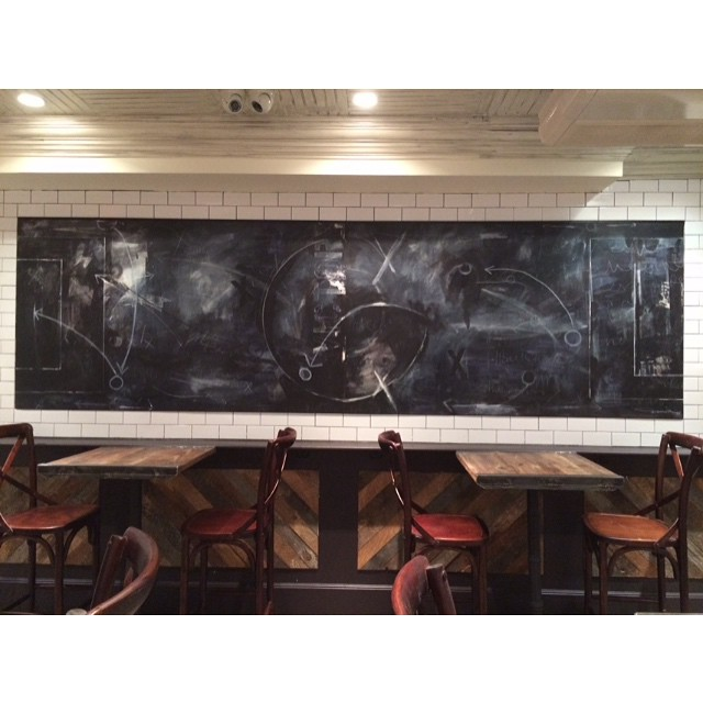 Recent 42in x 12ft commissioned piece now on display @gamepub.nyc #painting #art #gamepub #commission #acrylic #mixedmedia #fineart #artist #nyc #gallery #mural #create #blue #playbook #sportsbar #sports
