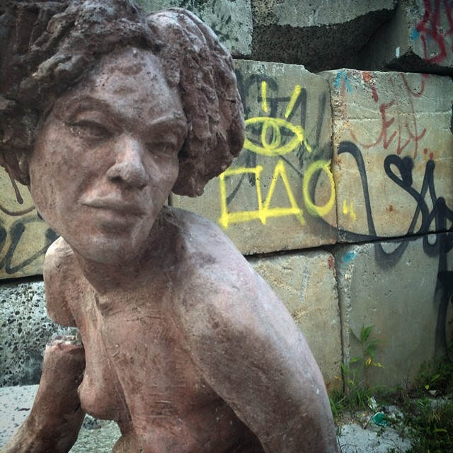 Sculpture #lookwhatifound #beauty #sculpture #art #graffiti #yellow #female #brooklyn #nycart
