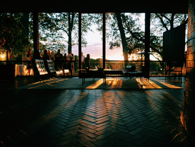 the glass house at sunset.
