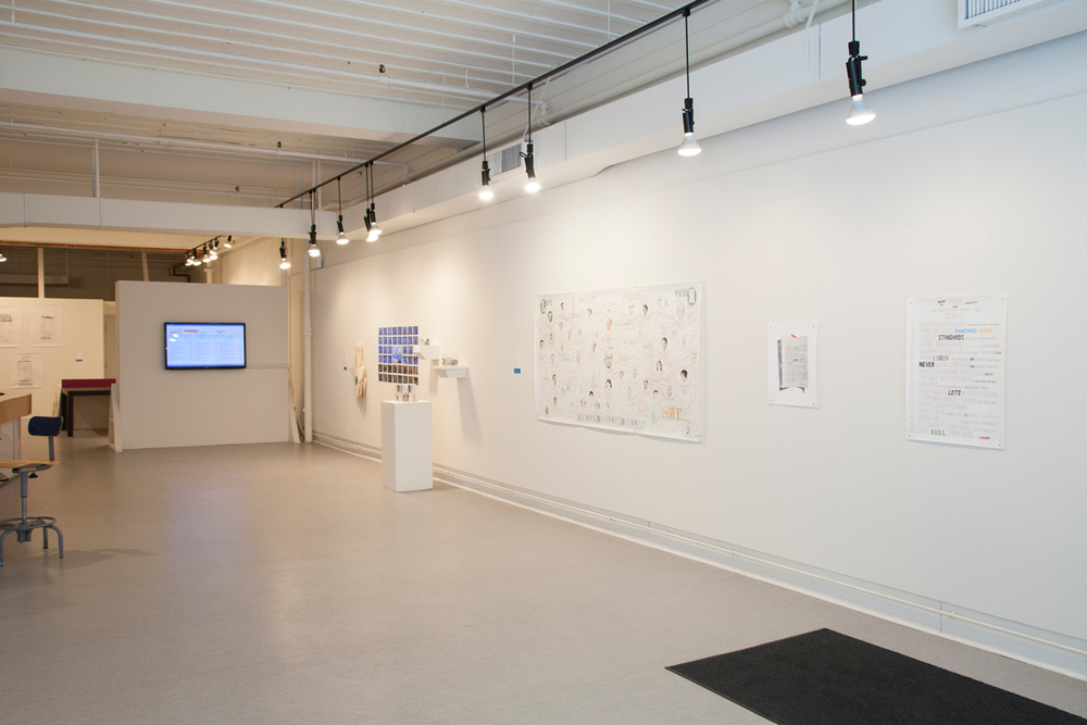 (from left to right)  Installation view of work by William Powhida, Alice Bradshaw, Kyle Fletcher and Derek Moore.