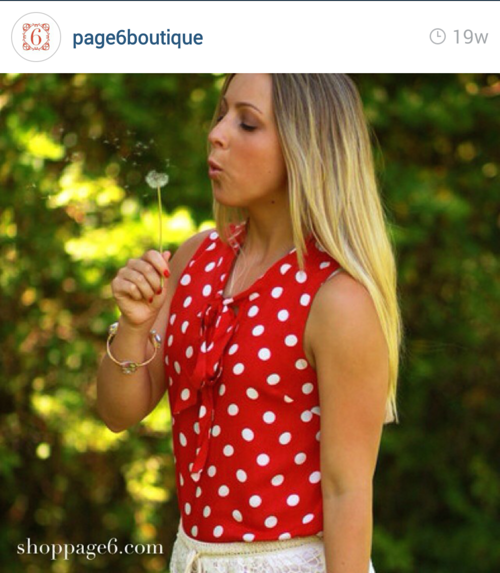 Page6boutique wearing our polka dotted tank top. Such a fun natural picture.